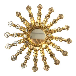 Spanish Style Starburst Wall Mirror With Bronze Gold Leaf Finish For Sale