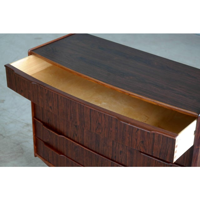 Rosewood Vintage Danish Mid-Century Rosewood Five-Drawer Dresser For Sale - Image 7 of 11