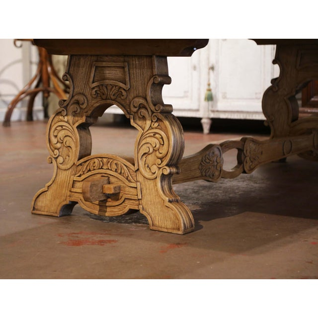 Early 20th Century French Carved Bleached Oak Marquetry Trestle Dining Table For Sale - Image 9 of 13