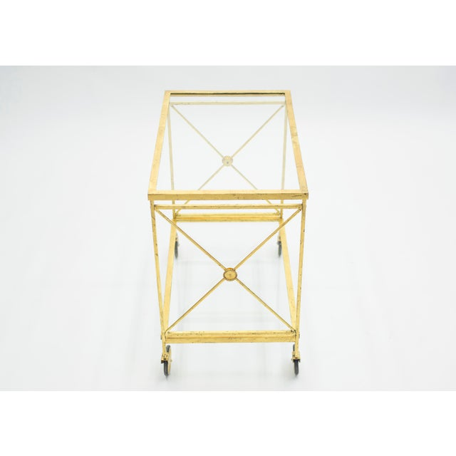 Metal French Neoclassical Maison Jansen Gilded Iron Bar Cart 1960s For Sale - Image 7 of 12
