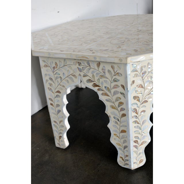 Boho Chic Moroccan Mother of Pear and White Octagonal Coffee Table For Sale - Image 3 of 10