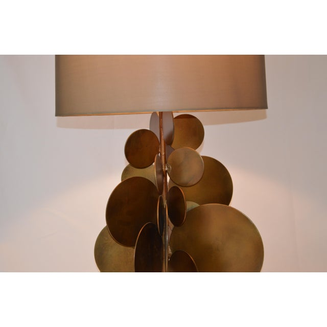 2010s Modern Arteriors Home Brass Disc Lamp With Brown Shade For Sale - Image 5 of 7