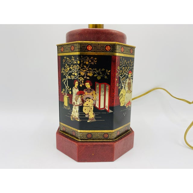 Red 1950s Chinoiserie Red and Black Tole Tea Canister Lamp With Leather Details For Sale - Image 8 of 13