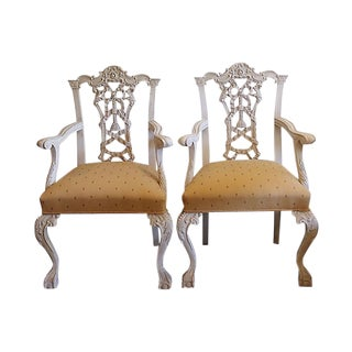 1960s Italian Hand-Carved Chairs - a Pair For Sale