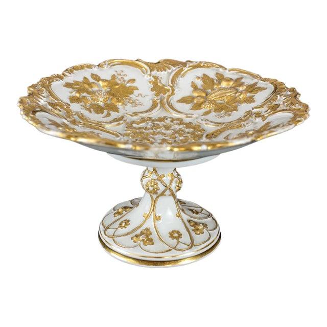 Meissen Germany Porcelain Gold Grape Leaf & Fruit Pedestal Bowl Compote, Circa 1900 For Sale