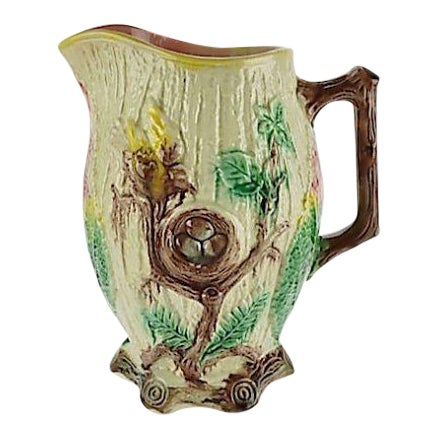 Antique Majolica Bird Pitcher For Sale