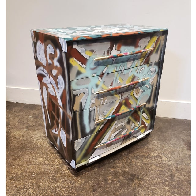 Graffitied Artist Painted Chest of Drawers For Sale - Image 10 of 10