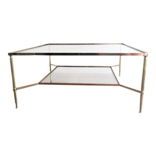 1940's Maison Jansen Brass Coffee Table For Sale