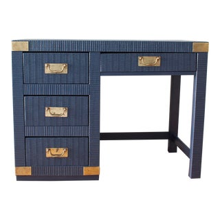 1980s Navy Campaign Writing Desk by Lea the Bedroom People For Sale
