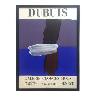 Fernand DubuisVintage 1966 Mid Century Modern French Silkscreen Print Framed Abstract Expressionist Exhibition Poster For Sale