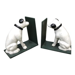 Rustic Cast Iron Rca Victor Dog Bookends - a Pair For Sale