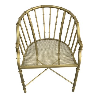 Early 21st Century Brass Plated Metal Bamboo Style Side Arm Chair For Sale