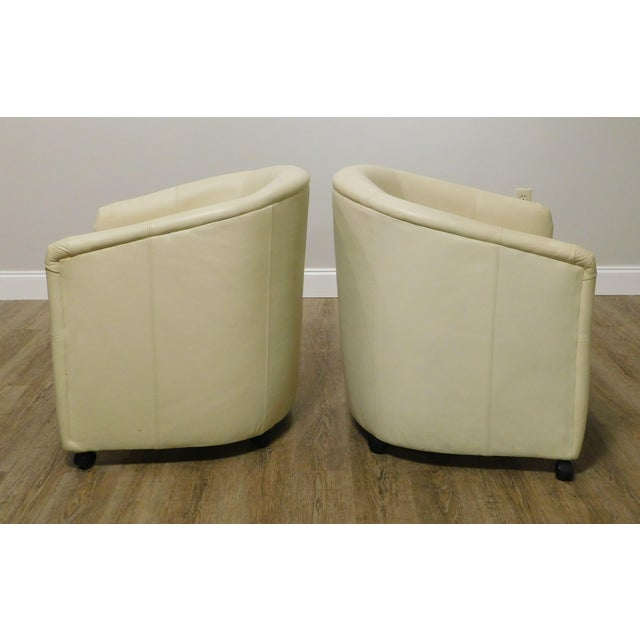 1980s Vintage Set 12 Postmodern Off White Leather Barrel Back Chairs For Sale - Image 5 of 13