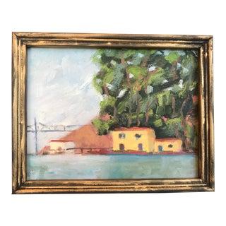 Carquinez Apartments and Bridge Plein Air Oil Painting For Sale
