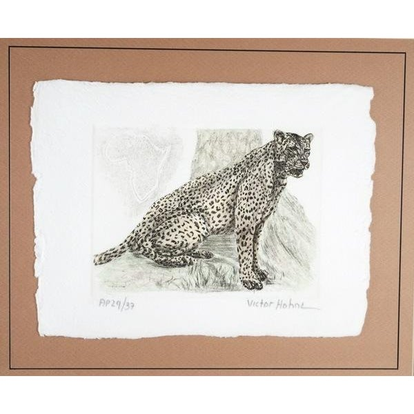 Hand-Colored Cheetah Engraving by Victor Hohne - Image 1 of 7