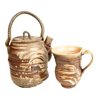 Zachary Weber Abstract Handmade Ceramic Tea Set For Sale