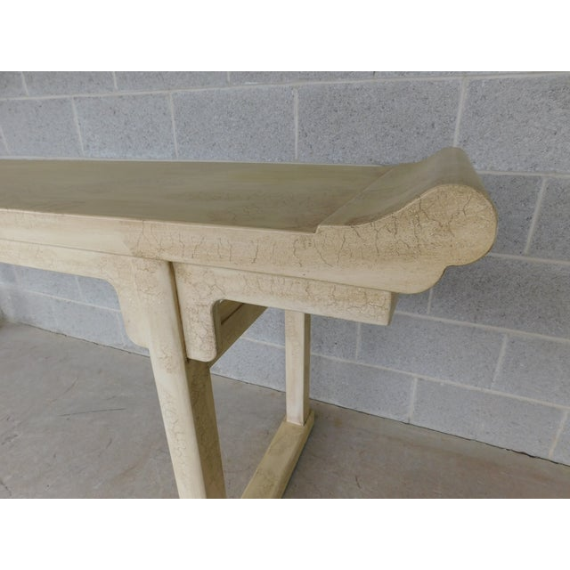 """Wood McGuire of San Francisco Distressed Finish Pagoda Style Console Table 96""""w For Sale - Image 7 of 13"""