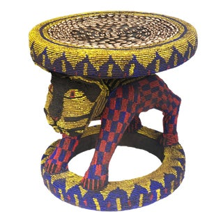 "Old Lg African Beaded Wood Bamileke Stool /Table Cameroon 18.5'""h For Sale"