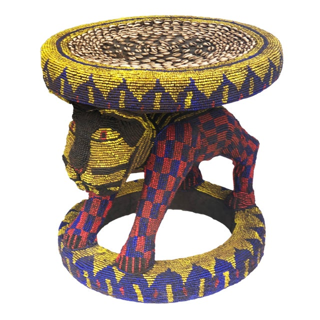 """Old Lg African Beaded Wood Bamileke Stool /Table Cameroon 18.5'""""h For Sale"""