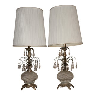 Hollywood Regency Bronze and Cut Glass Style Table Lamp With Prisms & Original Lamp Shades - a Pair For Sale