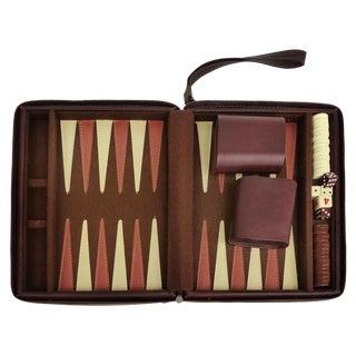Vintage Vinyl Backgammon Set W/ Zippered Carry-Case W/ Handle For Sale