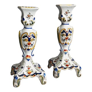 French Faience Candlesticks, a Pair For Sale
