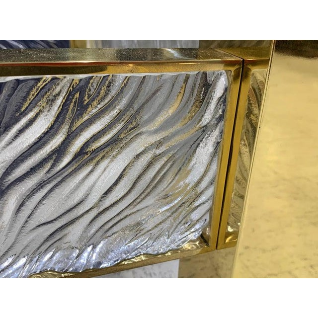 Modern Pair of Modern Italian Murano Glass and Brass End Tables For Sale - Image 3 of 9