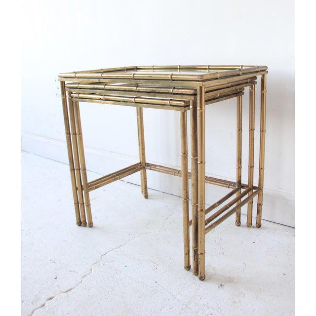 Modern Vintage Brass Faux Bamboo Nesting Tables - Set of 3 For Sale - Image 3 of 9