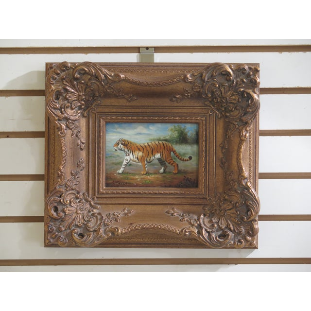 Paint 1990s Vintage A.costa Framed Tiger Oil Painting on Board For Sale - Image 7 of 7