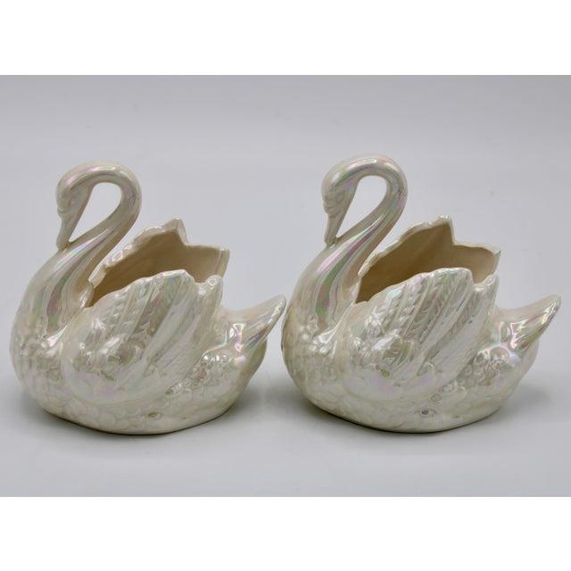 Ceramic Pair of Small Cream Lusterware Swan Cachepot Planters For Sale - Image 7 of 10