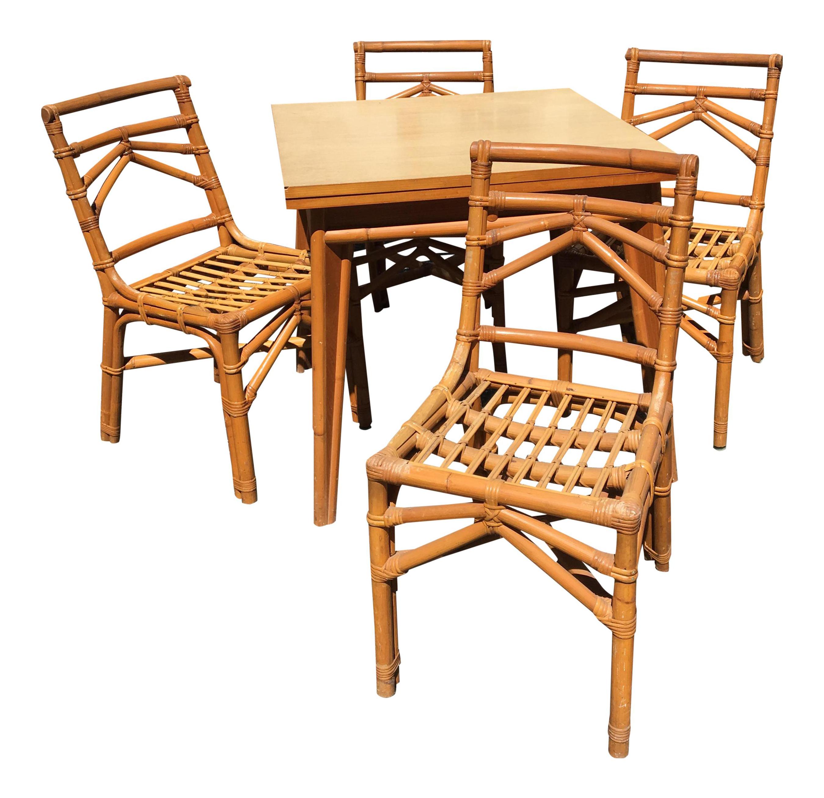 Merveilleux Vintage Table U0026 Rattan Chairs   Set ...