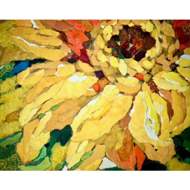 2010s Sunflower II Contemporary Collage Painting For Sale - Image 5 of 7