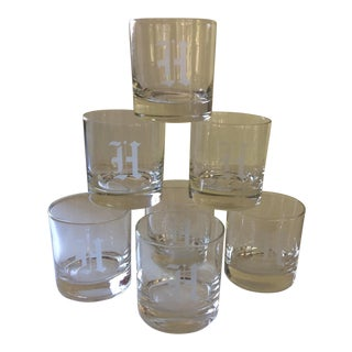 Crystal Low Ball Etched Monogram H Glasses - Set of 7 For Sale