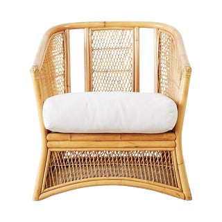 Midcentury Bamboo Rattan Wicker Lounge Chair For Sale