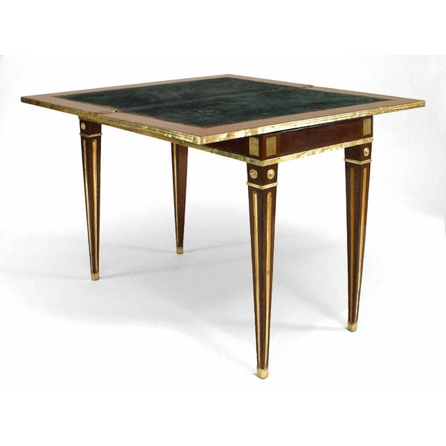 Neoclassical Russian Neoclassic Brass-Mounted Mahogany Game Table or Console For Sale - Image 3 of 5