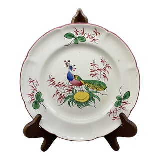 Vintage Luneville Coq Persan St. Clements French Faience Dinner Plate For Sale