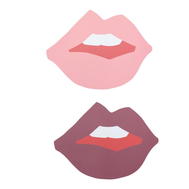 "Large ""Kiss Me"" Natural Cutout Prints by Angela Chrusciaki Blehm - A Pair For Sale"