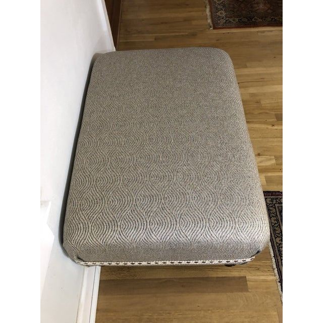 Upholstered Ottoman With Fluted Legs For Sale In New Orleans - Image 6 of 7