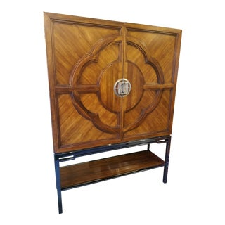 Contemporary Century Furniture Walnut and Maple Bar Cabinet