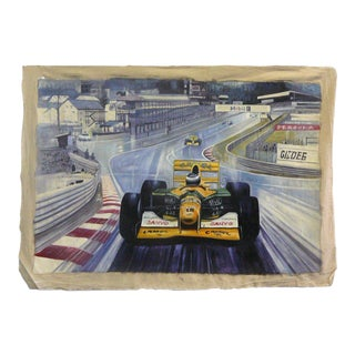 Formula One Race Cars On Track Oil Paint Canvas Art Wall Decor For Sale