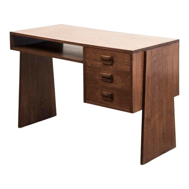 Handsome French Modernist Desk in Walnut, 1950s For Sale