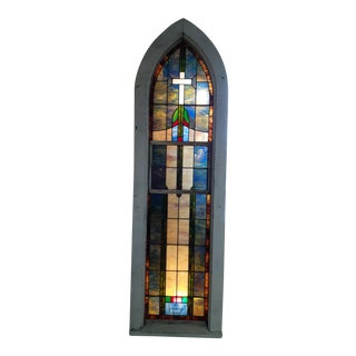 Antique Stained Glass Church Window For Sale