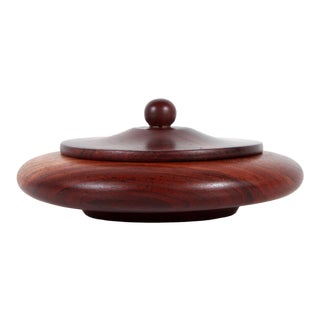 Vintage African Mid Century Hand Carved Mahogany Wood Bowl / Box With Lid For Sale