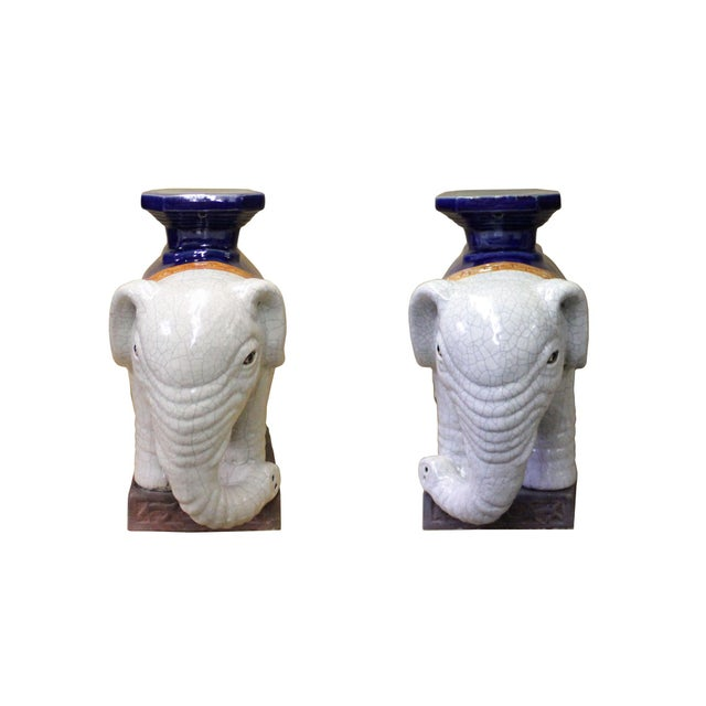 Pair Ceramic Chinese Off White Oriental Elephant Pedestal Figures For Sale - Image 10 of 10