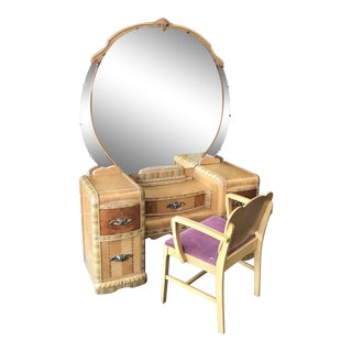 20th Century Art Deco Waterfall Vanity, Mirror and Chair - 3 Pieces For Sale