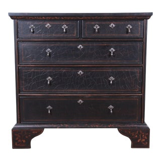 Baker Furniture Italian Style Black Lacquered Chest of Drawers With Floral Motif For Sale