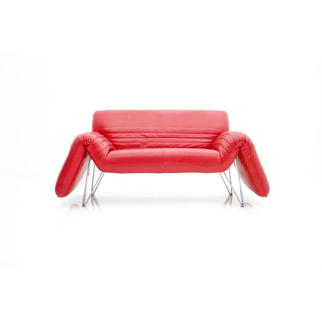 De Sede Leather Sofa Ds 142 by Wilfried Totzek in Red Swiss 1988 For Sale - Image 11 of 11