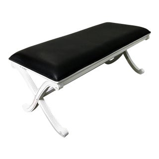 Maison Jansen Style White Lacquered Leather Bench