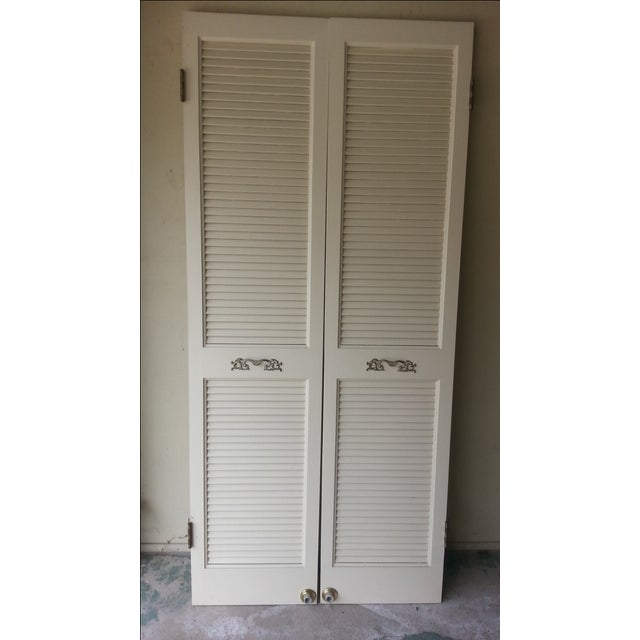 Louvered French Doors - A Pair - Image 2 of 3
