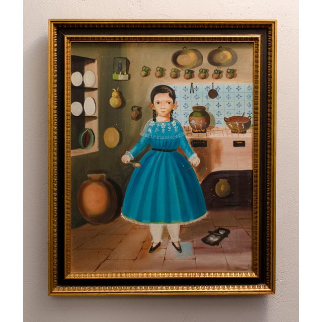 Girl in Kitchen c. 1950, an original oil on canvas composition by Lilia Carrillo (Mexico, 1930–1974), signed: Carillo....